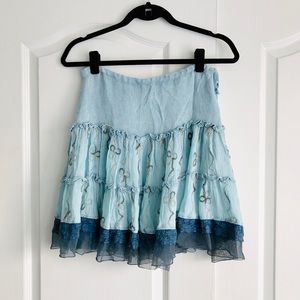 Free People Blue Embroidered Ruffle Skirt Small
